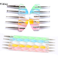 1 set / 5 pcs 2 way Marbleizing Dot Nail Art Dotting Painting Pen Nail Art Dotting Pen Drawing Spot Design Manicure Tools(China)