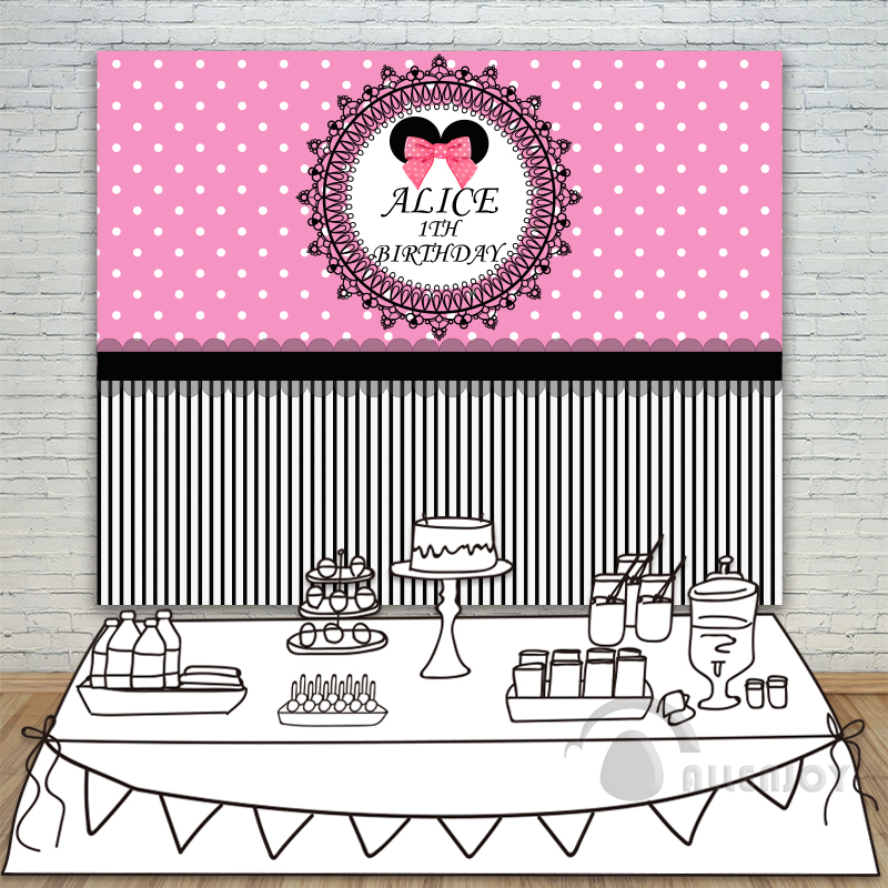 Girls 1th Birthday backdrops Baby Shower Pink Background White Circle Stripe Invitation celebration Party Allenjoy customize<br>