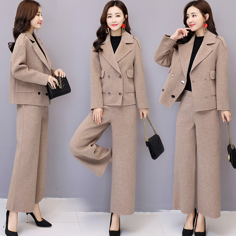 Autumn Women 2019 New Suit Fashion Wool Wide Leg Pants Two Sets of Autumn and Winter Small Suit Wool Two-piece Suit