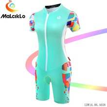 Malciklo women Cycling Clothing Jumpsuit 2017 Sky Blue V-neck Elasticity Summer Short sleeve Coverall(No rubber) Bike Garment