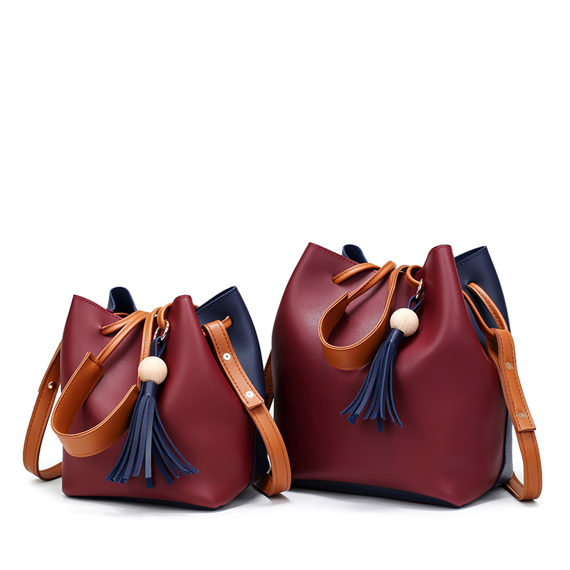 New Korean  Tassels Bead Soft Super Fiber Leather Bucket Bag Composit Bags For Women Tote Crossbody Shoulder Bags+Clutch 202<br><br>Aliexpress