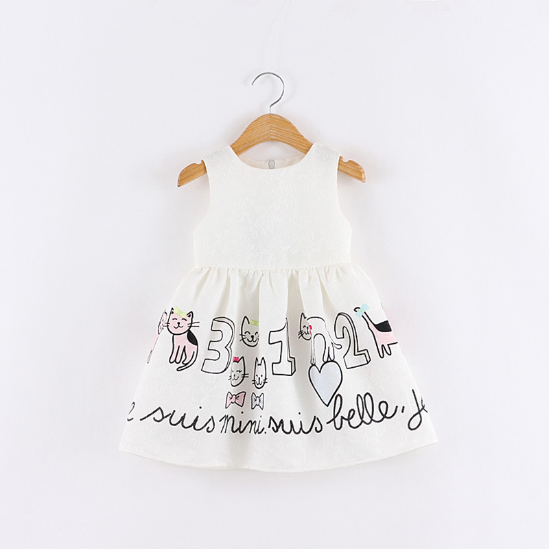 2-7 years old baby girl  cartton cat printed vest dress kids sleeveless white a-line cotton dress<br><br>Aliexpress