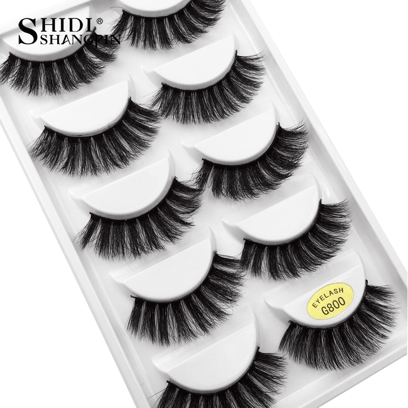 SHIDISHANGPIN 5 pairs eyelashes 3d mink lashes natural long 1 box mink eyelashes 1cm-1.5cm 3d false eyelashes full strip lashes (China)