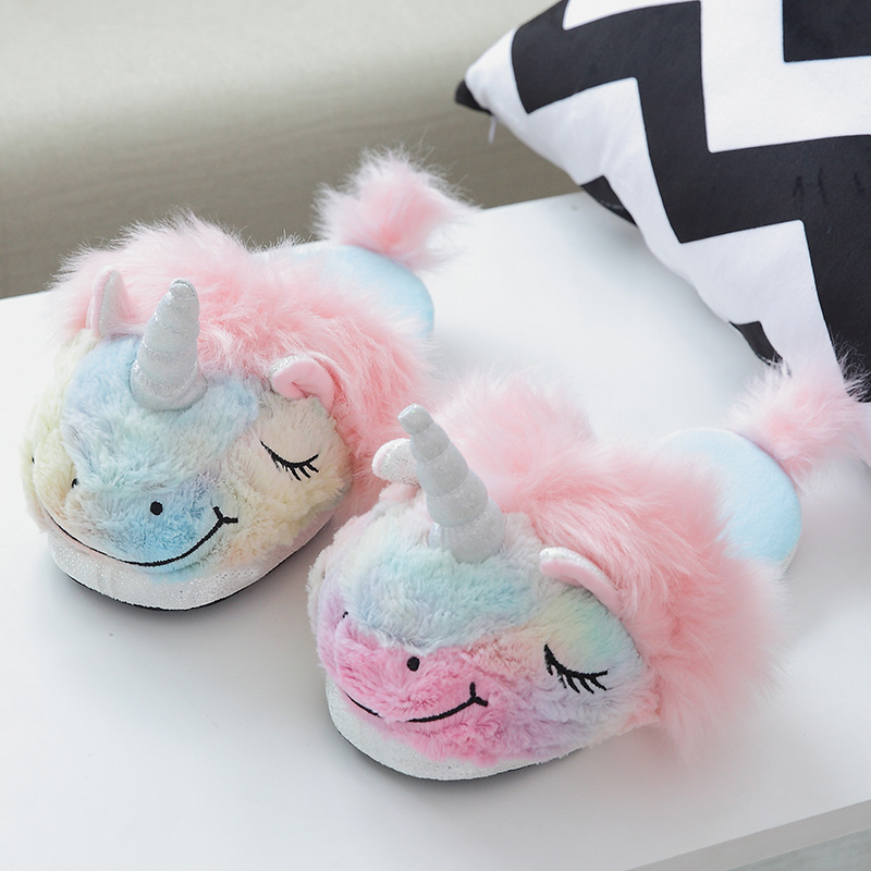 unicorn toys Winter Slippers cotton doll indoor household unicorn doll keep warm colorful  Ice cream warm gift for girl