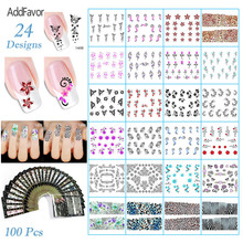 AddFavor 2Pc Nail Sticker DIY Beauty Nail Decal Multi Design Leopard Zebra Flower Makeup Tool Manicure Nail Art Print Paste Foil(China)