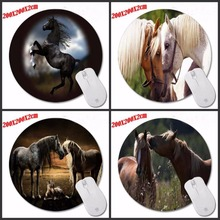Hot Sale Anti-Slip Kiss Horse Animal Mouse Pad Round Shape Soft Silone Mousepad Desktop Pad Silone Mouse Mat for Optal(China)