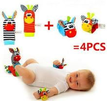 Free shipping (4pcs=2 pcs waist+2 pcs socks)/lot,baby rattle toys Sozzy Garden Bug Wrist Rattle and Foot Socks(China)