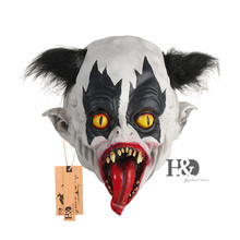 Scary Clown Latex Mask Red Long tongue Full Face Horror Masquerade Adult Ghost Party Mask Halloween Props Costumes Fancy Dress