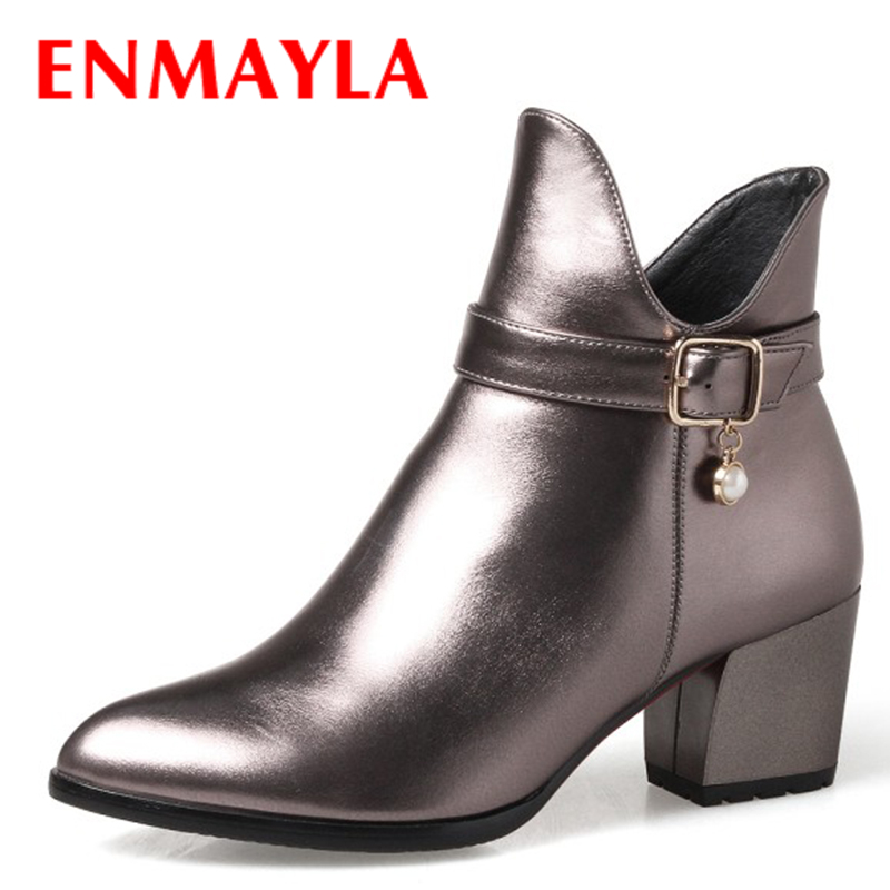 ENMAYLA New Autumn Shallow Ankle Boots Women Crystal Pointed Ladies Shoes Woman Chelsea Boots Big Size 34-43<br>