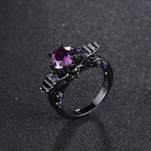 New Black Gold Filled Ring Sets Vintage Skull Shaped Ring AAA CZ ring For Women Fashion Jewelry Full Size