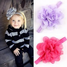 Newborn Headwear Gauze Fascinator Flower Headband children Hair Band Of Elastic Hair Accessories A114-3(China)