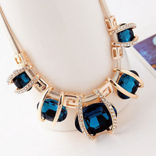 LNRRABC New Design Rhinestones Gold Color Women Crystal Pendant Chain Choker Chunky Statement Bib Blue Green Necklaces Gift(China)