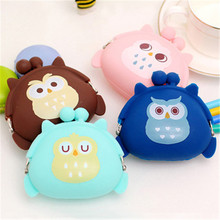 Children Girl'S Gift Kawaii Candy Color Owl Wallet Silicone Small Cute Key Change Headphones Storage Bag Mini Rubber Coin Purse