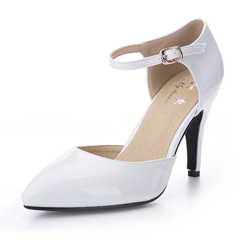 New 2017 White Wedding Shoes Spring Patent Leather Ankle Strap Medium Heel Fashion Women Pumps Sexy High Heels escarpins femme<br>