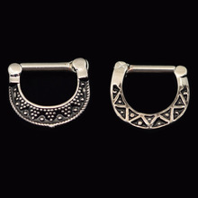 316L Stainless Steel Black Septum Clicker Hinged Beaded+ Triangle Nose Ring Body Jewelr Nose Piercing Women 2016 New Shipping