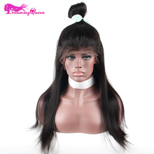 Dreaming Queen Hair 150% Density 360 Lace Frontal Wig Brazilian Remy Hair Straight Hair Full Lace Wig With Natural Line(China)