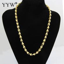 Wholesale Fashion 24k Gold-Color Necklace Chains For Men Long Gold Filled Chain Necklace Jewelry Party Daily Wear Jewelry Gift