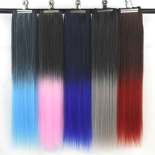 Soowee 60cm Long Ombre Color Women Hair Straight Black to Gray High Temperature Fiber Synthetic Clip in Hair Extension Hairpiece