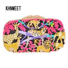 Zoo Inspired Crystal Purse evening bags women pochette soiree Monkey Lion Shape Clutches party ladies Clutch bag SC045(China)