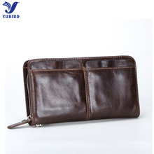 Fashion Brown Long Wallet Men Genuine Leather Men Wallet Zipper Clutch Wallets Credit Card Holders Dollar Price for Iphone case