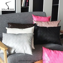 SewCrane Stylish Checkered PU Leather Rectangle Brown Lumbar Pillow Black Car Office Chair Cushion Cover Red Sofa Pillow Cover