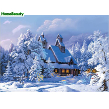 Home Beauty digital oil painting by numbers diy hand painted canvas wall acrylic paint picture coloring by number snow cabin(China)