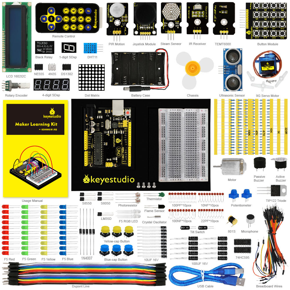 Keyestudio Maker learning kit /Starter kit Arduino Education Project+ UNOR3+User Manual+1602LCD servo+Chassis+PDF, oline