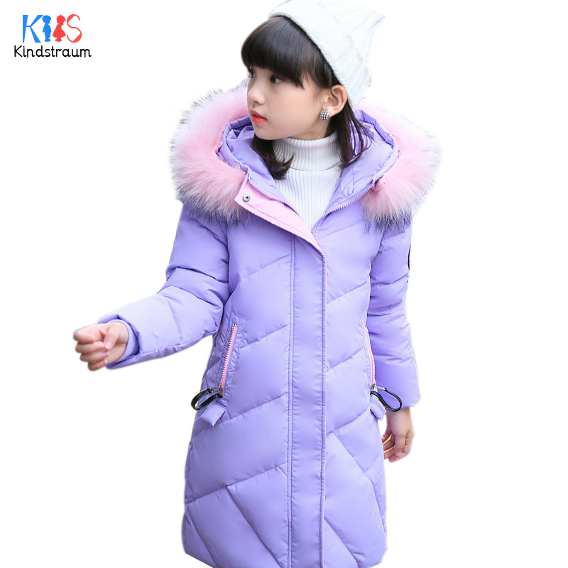 Kindstraum 2017 Children Fur Hooded Parkas Brand Kids Print Thick Down Clothes Winter Zipper Wear for Girls,RC1602<br>