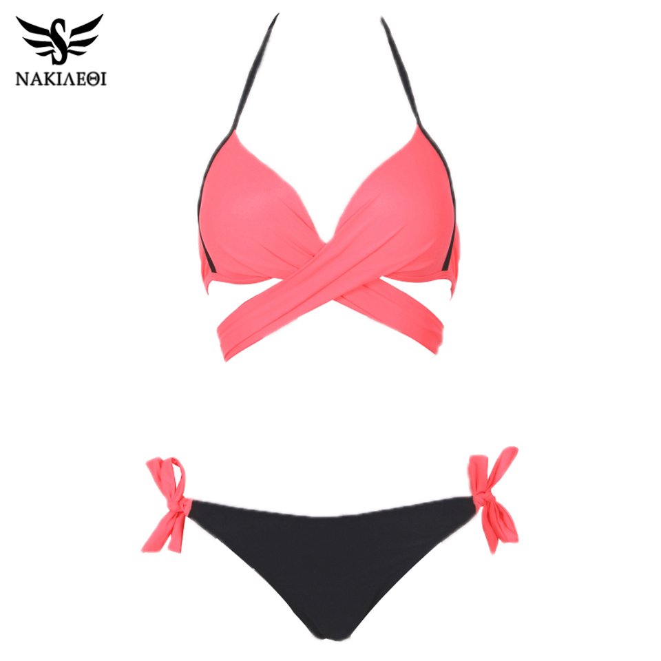 NAKIAEOI 19 Sexy Bikini Women Swimsuit Push Up Swimwear Criss Cross Bandage Halter Bikini Set Beach Bathing Suit Swim Wear XXL 10
