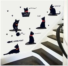 New home decoration Ebay explosion models designed for wall 3D stickers decorative green sticker sided stairs to see a black cat(China)