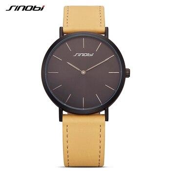 Sinobi nova moda pulseira de couro preto relógios de pulso das mulheres marca de luxo simples senhoras genebra relógio de quartzo presentes femininos 2017