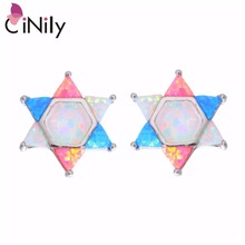 CiNily Created White Blue Pink Fire Opal Silver Plated Wholesale Lovely Star for Women Jewelry Stud Earrings 16mm OH3384(China)