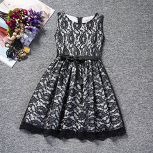 Flower Lace Kids Girls Dress for Wedding Black White Princess Girl Dress Kids Girl Prom Party Dress Clothes 10 Years Baby Frocks