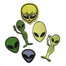 6Pcs Alien Head Patch Movie Cartoon Peace UFO Logo Kid Polo T Shirt Patches Great Gift for Men and Women/ramakian(China)