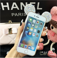 Hot Handmade Mickey Ear bling bling Diamond tpu Case Cover For iphone5 5s 6 6s plus 7 7plus