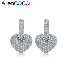 2016 New Charm AAA Quality Fashion Heart Earring Full Set Genuine Austria Crystal CZ Crystals Lover Stud Earrings For Women(China)