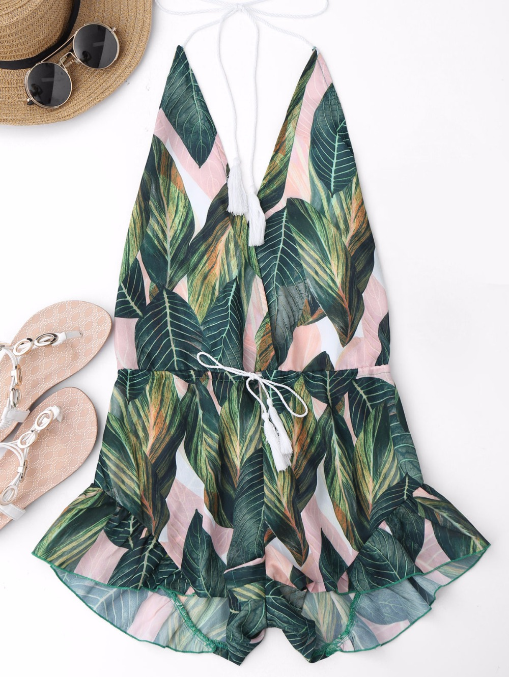 AZULINA Backless Deep V Neck Sexy Halter Romper Jumpsuit Women Drawstring Leaf Print Summer Playsuit Ladies Beach Overalls 2017 4