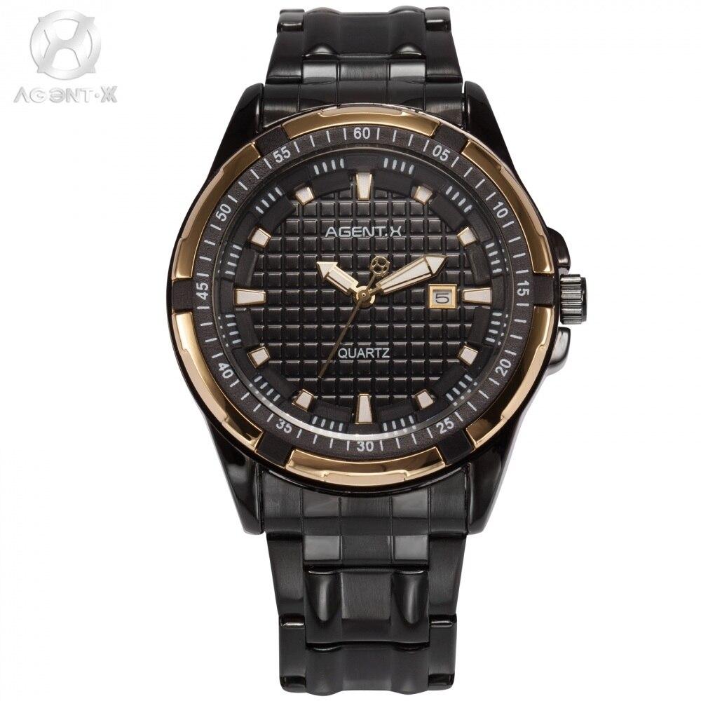 La Vitesse Fatale AGENTX Brand Gold Case Auto Date Black Steel Strap Relogio Men Casual Sport Military Quartz Watch / AGX066<br>