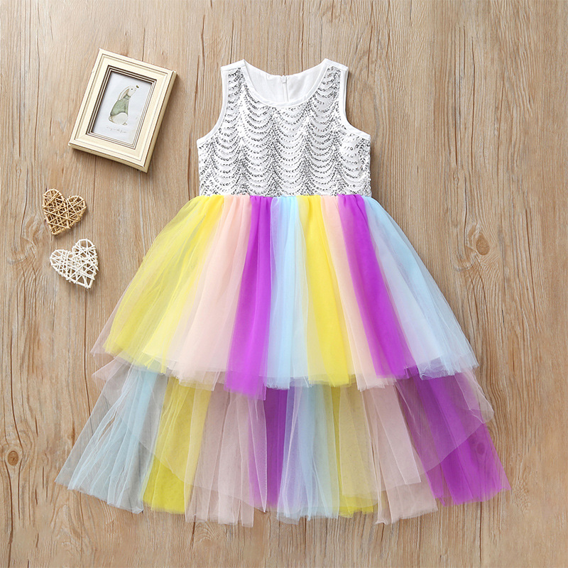 sleeveless sequined rainbow stripe layered dress long girls summer clothes kids dresses children girl wedding party costume