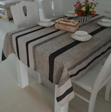 table Cloth For Wedding/Event/Party/Banquet Pastoral Dinning Linen Pink at home Simple modern stylish black cotton greystriped