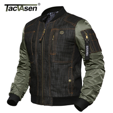 TACVASEN 2017 New Arrivals Men's Military Air Force Fly Pilot Jacket Tactical Denim Jacket Autumn Bomber Jacket Coat TD-DSPD-006(China)