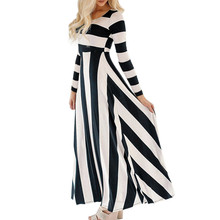 Buy feitong New Arrival Womens Long Maxi Dress Ladies Stripe Casual Long Sleeve evening party Dress plus size women clothing vestido for $16.25 in AliExpress store