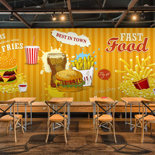 Free Shipping Hand painted French fries hamburgers graffiti large mural western style fast food restaurant wallpaper mural