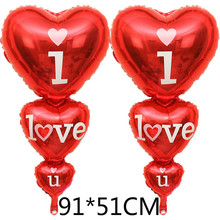 10pcs/lot 91*51CM LOVE air balloons Romantic heart with heart ballons  I LOVE YOU foil married helium inflatable balls LLV06