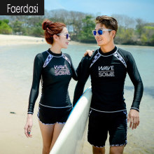 faerdasi Couple Rashguard Surf Swimsuits Women Long Sleeve Rash Guards Men Swimming Suit Dive Two Piece Swimwear Lovers Wetsuit
