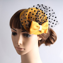 Free ship 7 colors mini partys hats with veil great for bridal hair accessories wedding hats fascinator hair accessories OF1551