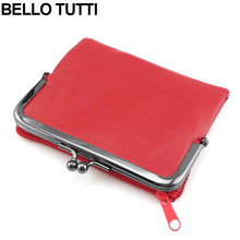 BELLO TUTTI Ladies Leather Wallet Sheepskin Leather Mini Wallet Card Holder Purses Metal Wallet Frame Women Short Wallet Red(China)