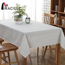 Miracille Modern Simple Black White Dining Tablecloth Cotton Linen Table Cover for Birthday Party Festival Blanket Home Decor(China)