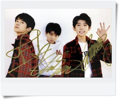 signed TFBOYS  autographed group photo 6 inches  freeshipping 08201703<br>