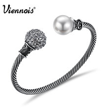Viennois Hot Vintage Silver Color Bangles for Women Simulated Pearl Twisted Bracelet & Bangles Rhinestone Ball Retro Jewelry